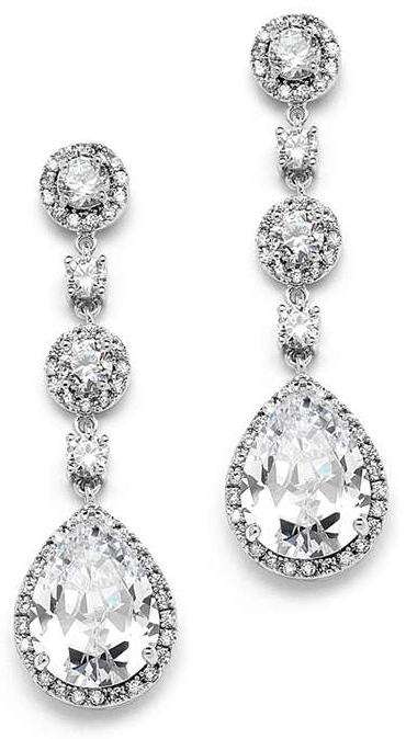 Mariell Best-Selling Pear-Shaped Drop Bridal Earrings with Pave CZ