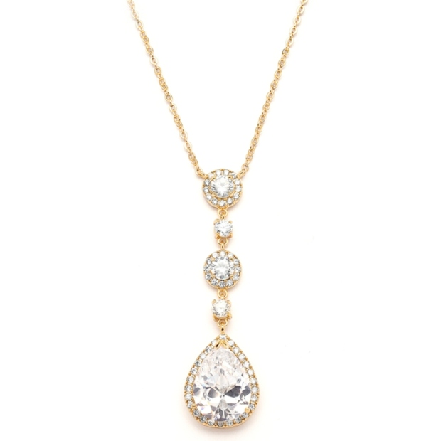 Mariell Best-Selling Gold Bridal Necklace with Pear-Shaped CZ Drop