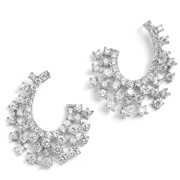 Mariell Sparklling Cubic Zirconia Spray Earrings for Weddings Or Mothers of the Bride