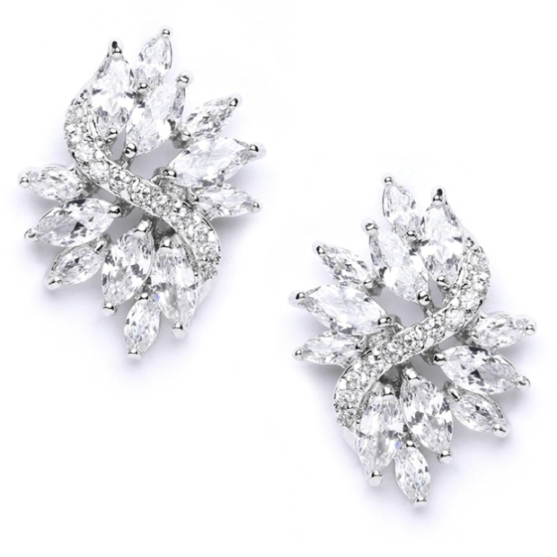 Mariell Cubic Zirconia Cluster Wedding Earrings with Delicate Marquis Stones