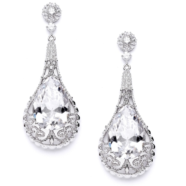 Mariell Top-Selling Bold Cubic Zirconia Pear Shape Wedding Earrings