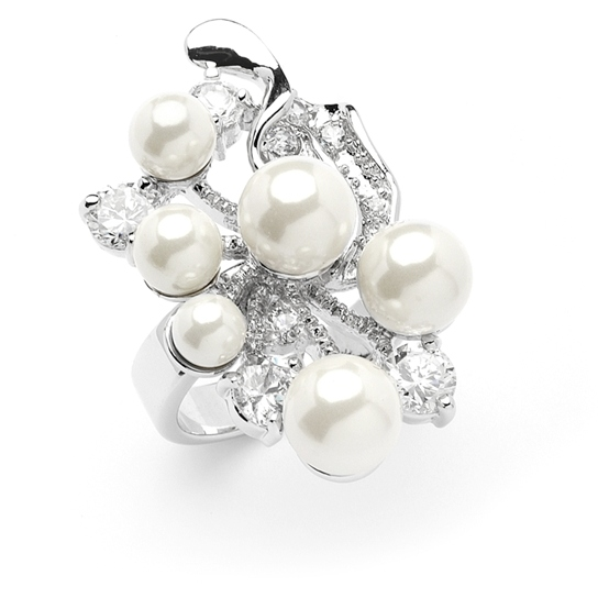 Mariell Bold Cubic Zirconia Wedding Cocktail Ring with Light Ivory Pearl Bubbles