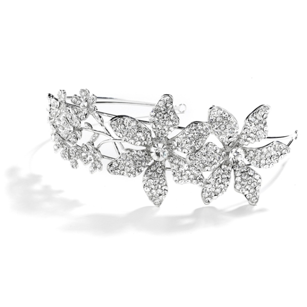 Mariell Spectacular Bridal Headband with Crystal flowers and Split Band