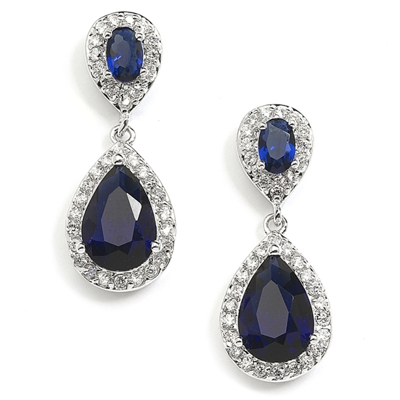 Mariell Top-Selling Sapphire Cubic Zirconia Teardrop Wedding Or Bridesmaids Earrings
