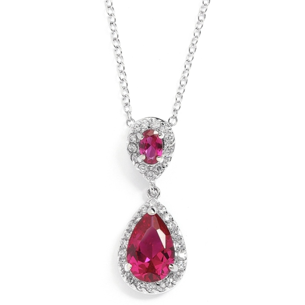 Mariell Top-Selling Fuschia Cubic Ziconia Teardrop Wedding Pendant