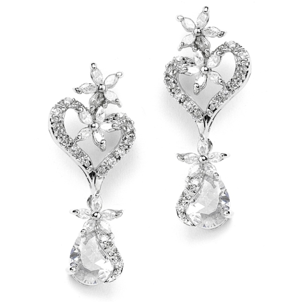 Mariell Cubic Zirconia Heart Shaped Wedding Earrings with flowers and Pears