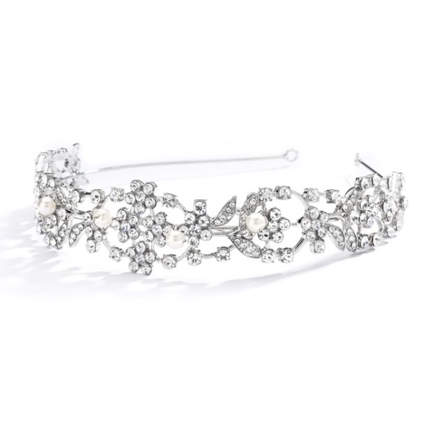 Mariell Vintage Crystal & Ivory Pearl Wedding Tiara Or Bridal Headband