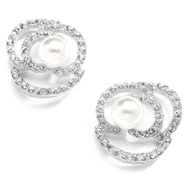 Mariell Designer Wedding Earrings with Cubic Zirconia and Pearl flowers