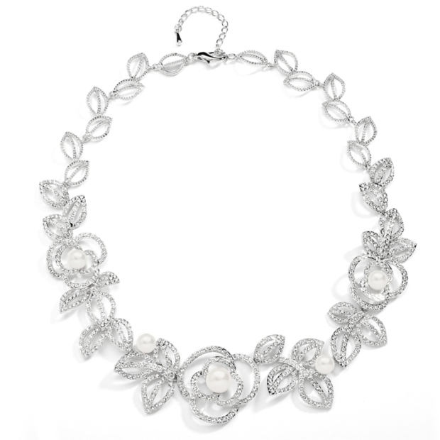 Mariell Designer Wedding Necklace with Cubic Zirconia and Pearl flowers