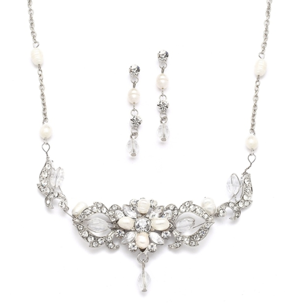 Mariell Top-Selling Freshwater Pearl & Crystal Wedding Necklace & Earrings Set
