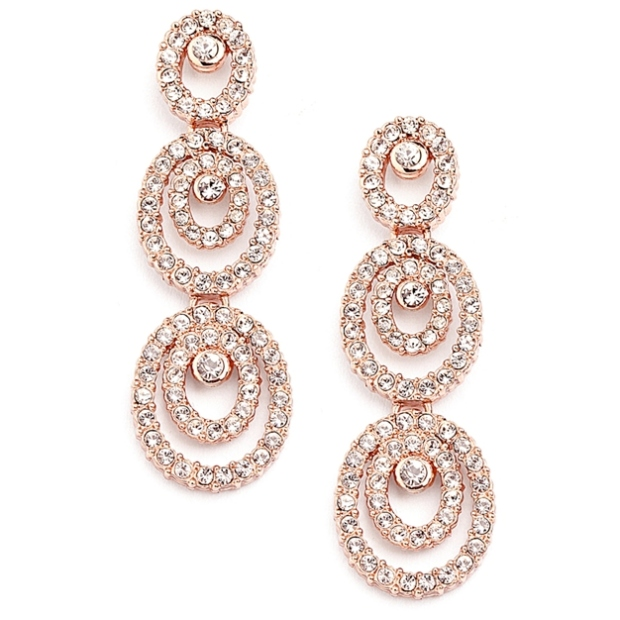Mariell Concentric Ovals Rose Gold Wedding Earrings with Cubic Zirconia