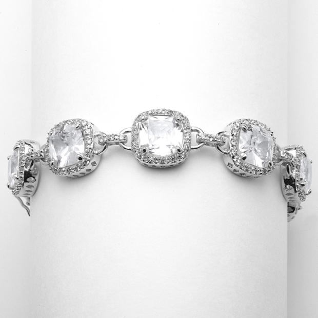 Mariell Magnificent Cushion Cut Cubic Zirconia Bridal Or Pageant Bracelet