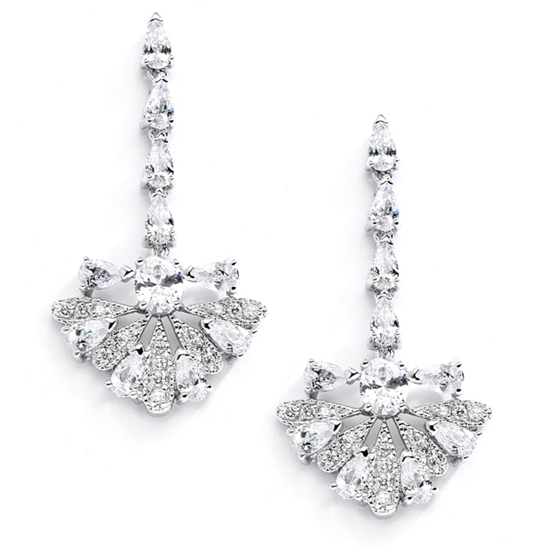 "Mariell Art Deco ""Fan"" Design Cubic Zirconia Wedding Earrings"