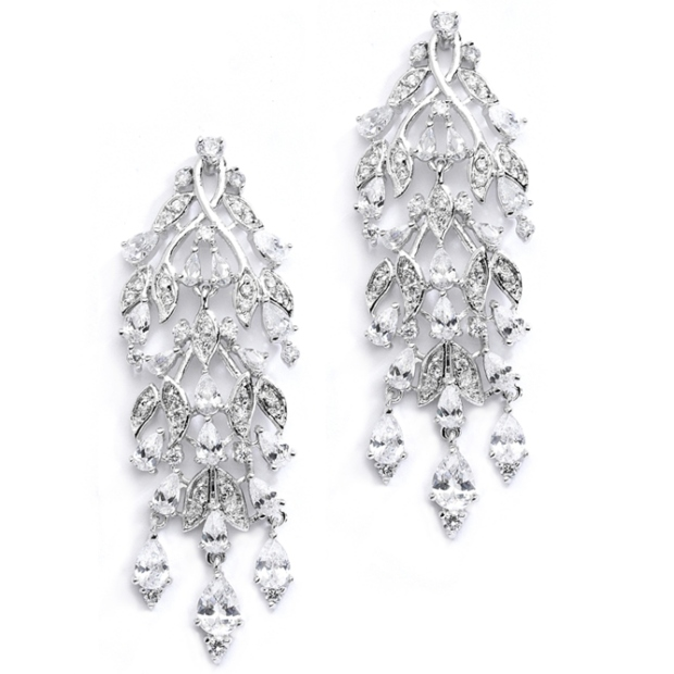 Mariell Cascading Cubic Zirconia Leaves Bridal Or Bridesmaids Earrings