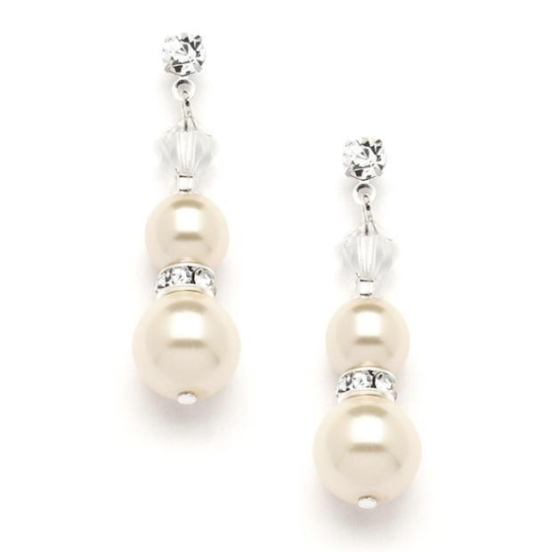 Mariell Double Ivory Pearl Dangle Earrings with Rondels & Stud Top