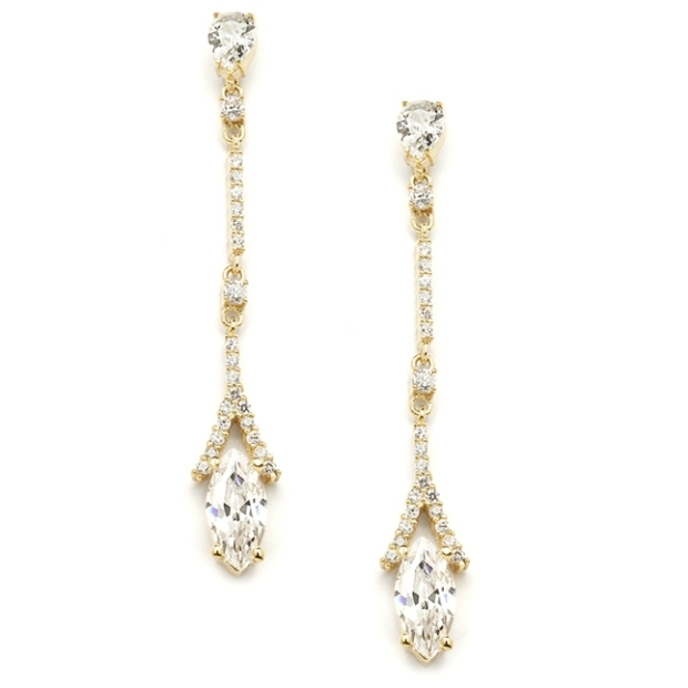 Mariell Delicate Cubic Zirconia Linear Wedding Or Bridesmaids Earrings in Gold