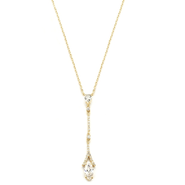 Mariell Graceful Linear Gold Cubic Zirconia Wedding Or Prom Necklace
