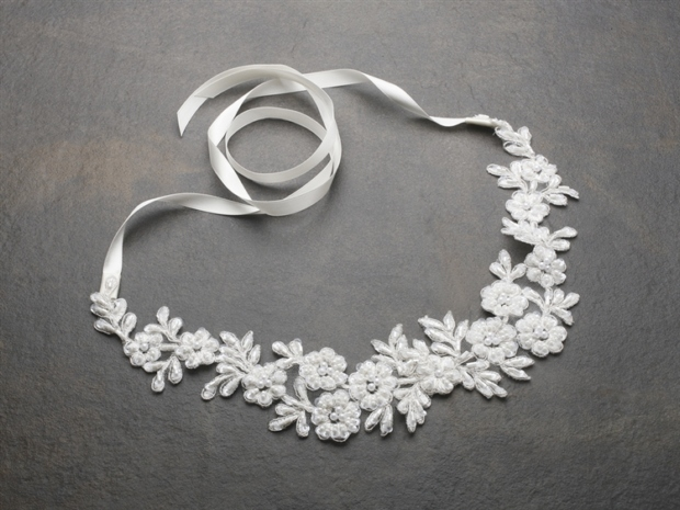 Mariell Ivory Lace Applique Garden Wedding Headband with Meticulous Edging