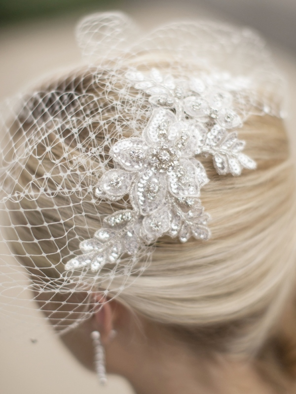 Mariell Bold Crystal Ivory Lace Applique Wedding Veil with French Net Birdcage Blusher & Scattered Crystal Edge