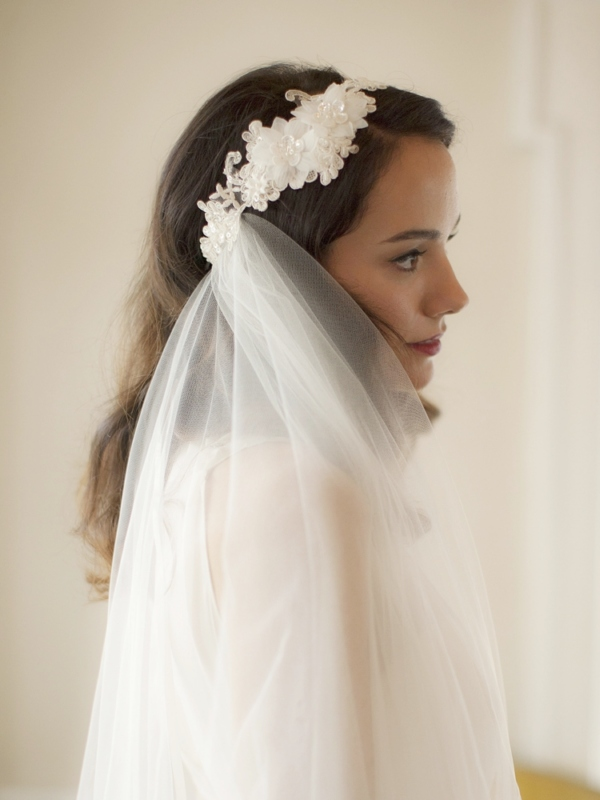 Mariell Runway Style Cascading 2-Layer Side Veil with Ivory Crystal Lace Headband