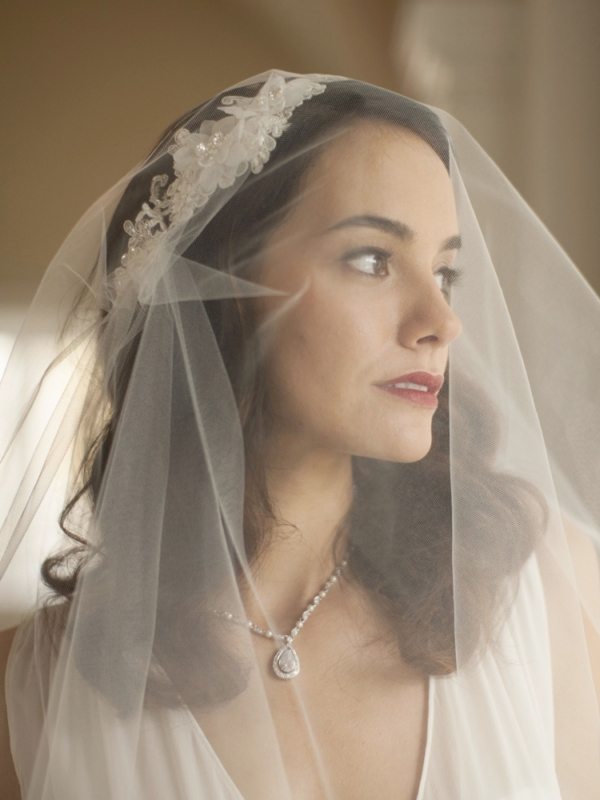Mariell Runway Style Cascading 2-Layer Side Veil with White Crystal Lace Headband