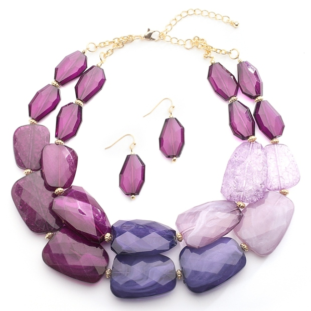 Mariell Purple Tones Chunky Statement Necklace & Earrings for Prom Or Bridesmaids