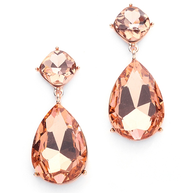 Mariell Chunky Champagne Crystal Wedding Or Prom Earrings in Rose Gold