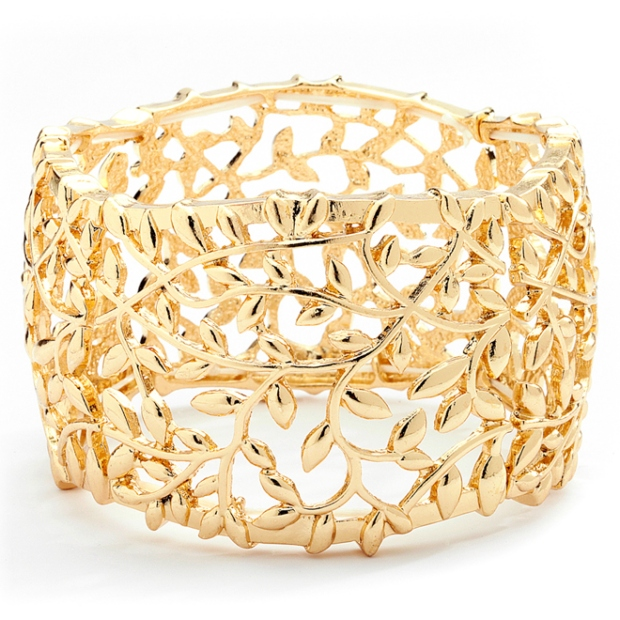 Mariell Open Vine Gold Stretch Bracelet for Prom, Homecoming Or Wedding