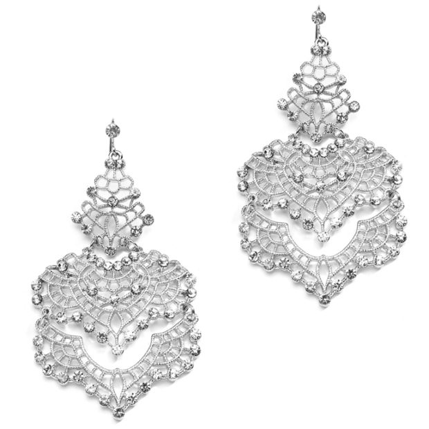 Mariell Top Selling Wedding Or Prom Silver Filigree Statement Earrings
