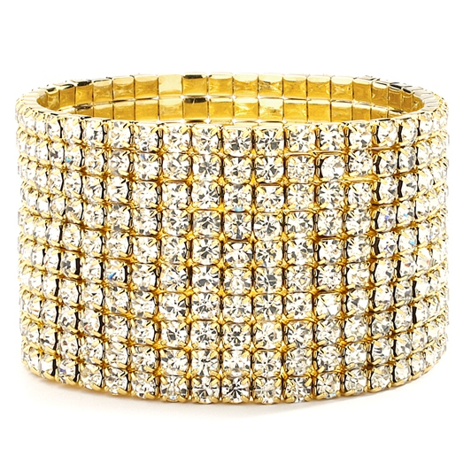 Mariell 10-Row Clear Gold Rhinestone Wedding Or Prom Stretch Bracelet