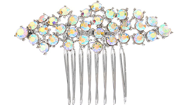 Mariell Best Selling Crystal Clusters Silver & AB Wedding Or Prom Comb