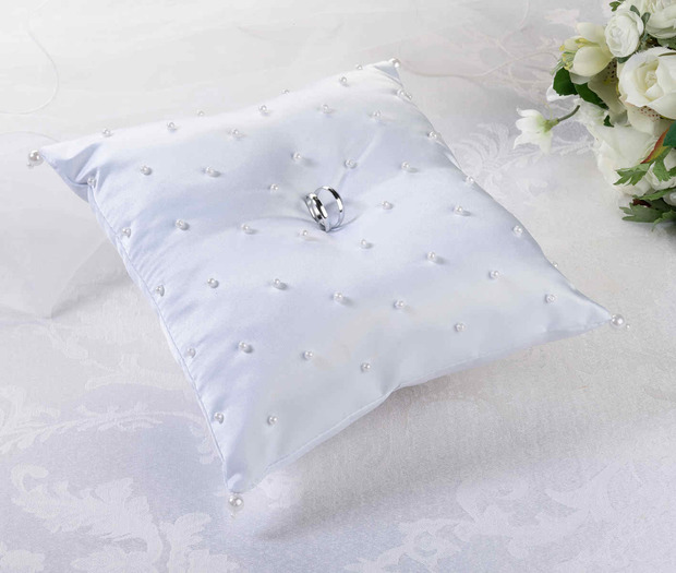 Lillian Rose Pearl Ring Pillow - White