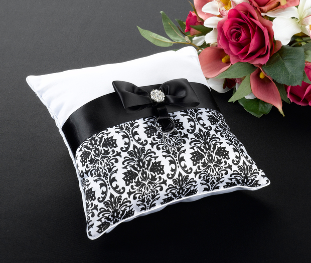 Lillian Rose Black Damask Pillow