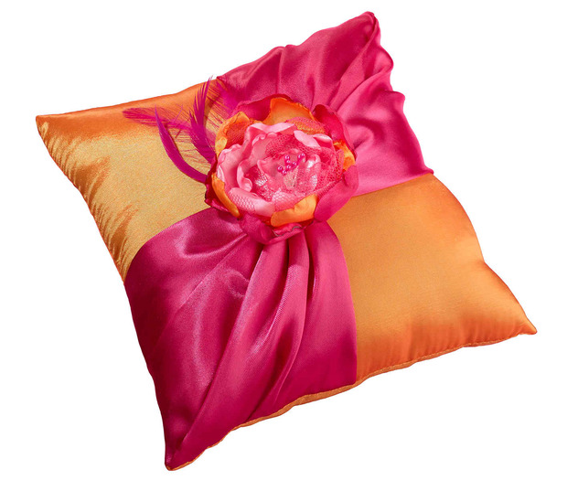 Lillian Rose Hot Pink & Orange Ring Pillow