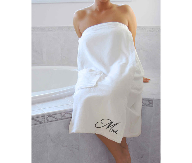 Lillian Rose Mrs. Bath Wrap - White