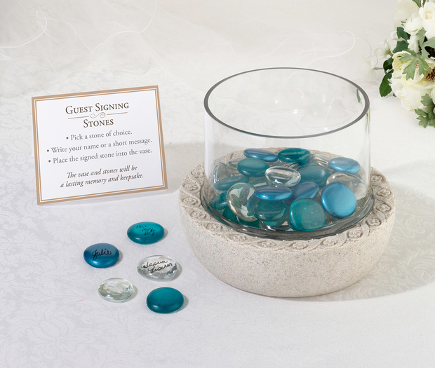 Lillian Rose Glass Signing Stones (Approx 45) - Aqua mixed