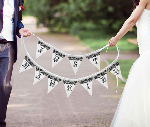 Lillian Rose Just Married Black and White Banner