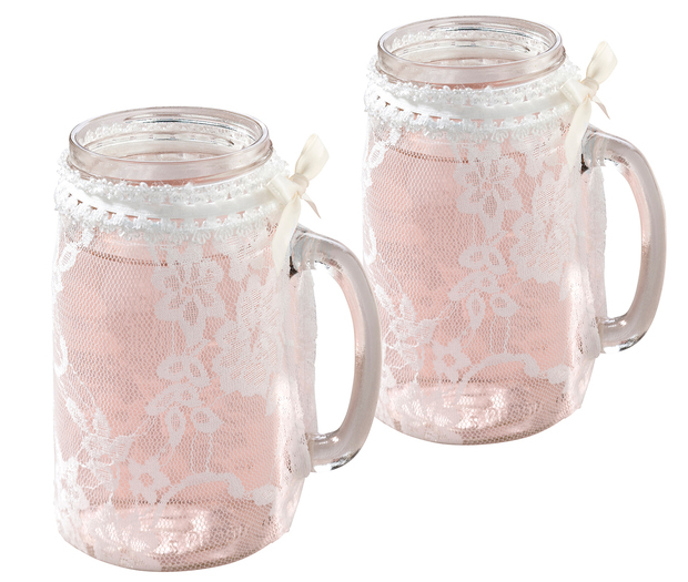 Lillian Rose Set of 4 Lace Glass Covers