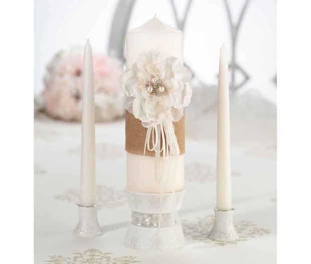 Lillian Rose Burlap & Lace Candle Set