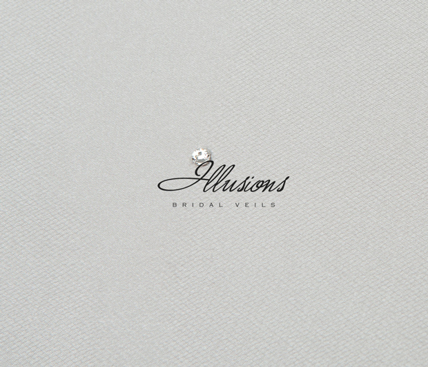 Illusions Bridal Ribbon Edge Veil S1-452-SR: Rhinestone Accent
