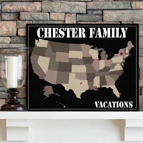 JDS Personalized Americana Family Map Canvas Print
