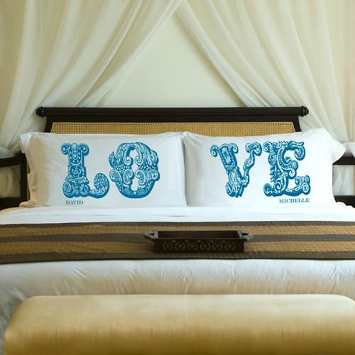 JDS Personalized Couples Pillow Case Sets
