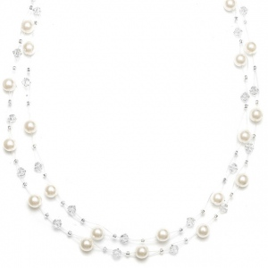Mariell 2-Row Pearl & Crystal Bridal Illusion Necklace