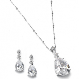 Mariell Brilliant CZ Pear Shaped Drop Necklace Set