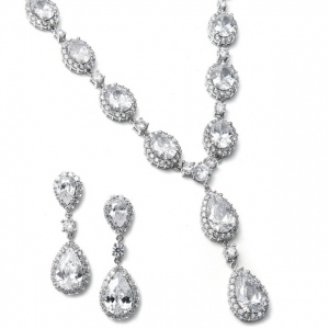 Mariell Bridal Necklace Set with Bold CZ Pears and Ovals