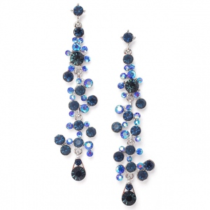 Mariell Dramatic Montana Navy Earrings with Cascading Bubbles