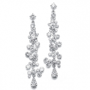 Mariell Dramatic Earrings with Cascading Clear Bubbles