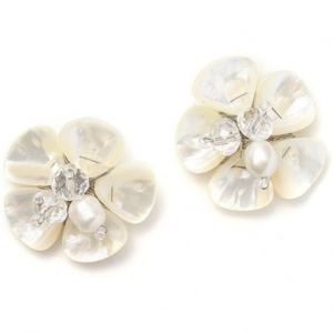 Mariell Freshwater Pearl Flower Stud Bridal Earrings