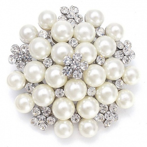 Mariell Pearl Cluster Bridal Brooch with Crystal