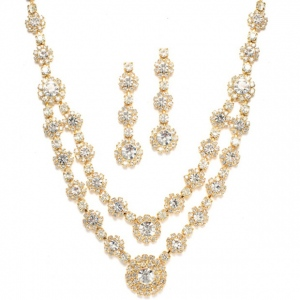 Mariell Regal Gold Two Row Rhinestone Neck Set